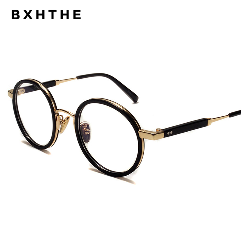 2020 Korea Men Retro Acetate Alloy Optical Glasses Frame Women Round Prescription Eyeglasses Vintage Myopia Eyewear Frames