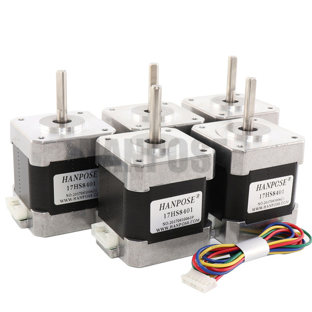Free Shiping 5pcs Nema17 Stepper Motor 4-lead 48mm 78Oz-in 1.8A 42BYGH 17HS8401 motor for mini cnc 3D printe