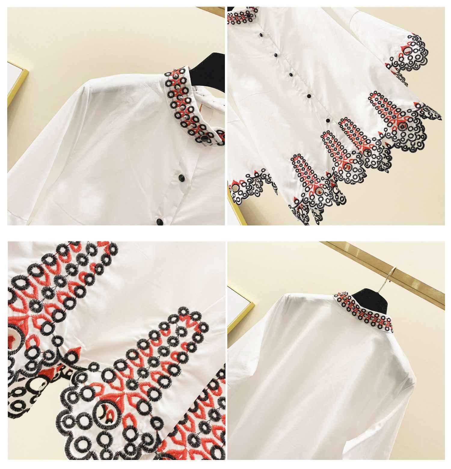 2020 primavera suelta-Fit Ruffle camisa mujeres de moda campana bordada-Manga blusas muñeca camisa chicas señoras blusa blanca mujeres Tops