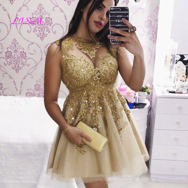 Golden Lace Mini Homecoming Dresses 2020 Short Tulle Prom Dress High Neck Appliqued Cocktail Party Gowns Custom Made
