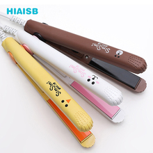 лучшая цена Mini Professional Hair Straightener Styling Tool Travel Flat Iron Mini Hair Beard Comb Straightener Ceramic Tourmaline Ionic Fla