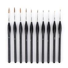 10 Triple-cornered Sticks Set Nylon Hair Hook Liner Hand-Painted Digital Stroke Watercolor Pen Painting Pen