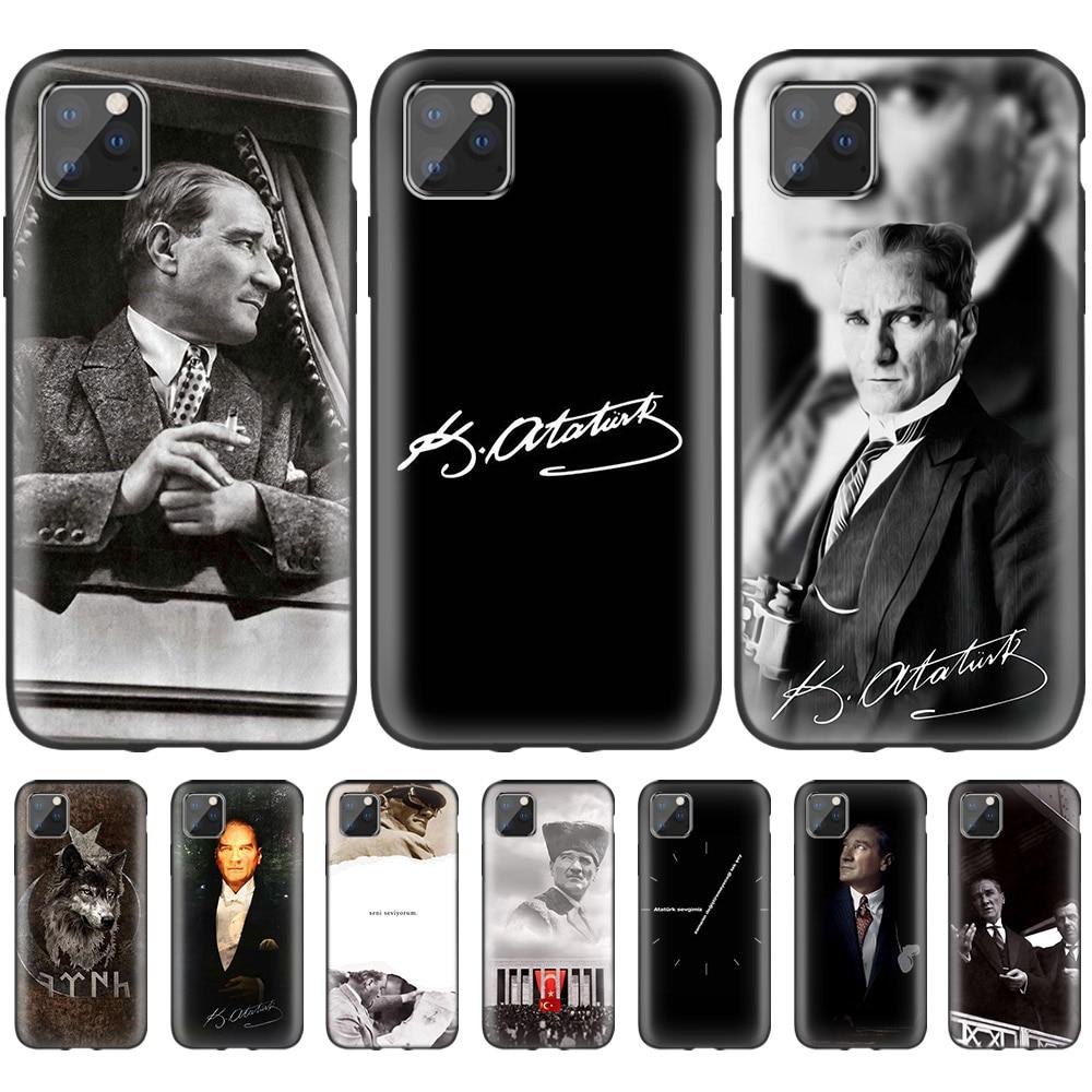 Turkey Mustafa Kemal Ataturk Case for iPhone 11 Pro XS Max XR X 10 7 8 6 6S Plus 5S 5 SE 7S Black Silicone Phone Coque Casings
