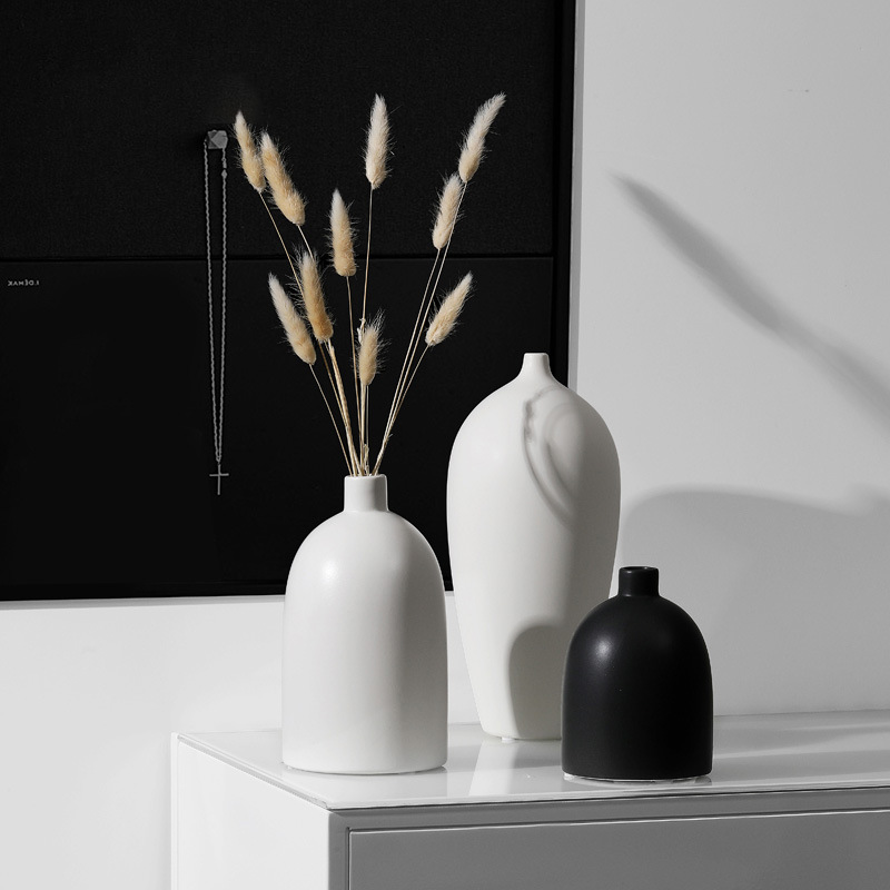 Nordic White black Ceramic Vase Living Room Decoration Ornaments Modern vase decoration home design