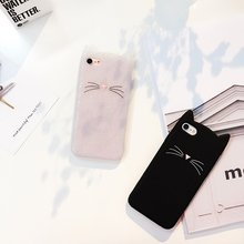3D Cute Cat Ears Beard Phone Cases Soft Silicone Cartoon Mobile Accessories Cover Two Colors Gifts Girls Lovely for Iphone Case(China)
