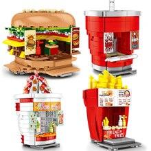 Toys Bricks Building-Blocks City-Hamburger Store Ice-Cream-Drink Street-View Children