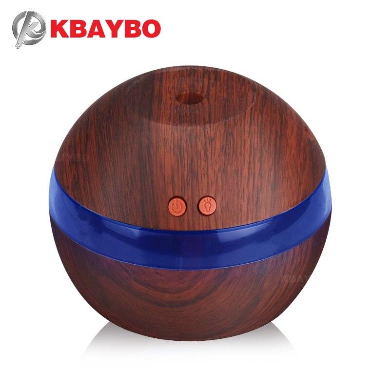 Kbaybo usb ultra-sônico umidificador 290ml aroma difusor do óleo essencial aromaterapia névoa maker com luz led grão de madeira