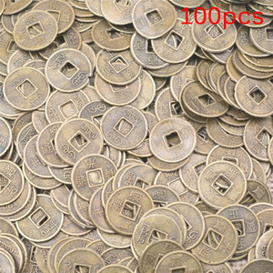100Pcs/lot 10mm Chinese Ancient Feng Shui Lucky Coin Good Fortune Home Car Decor Dragon and Phoenix Antique Wealth Money