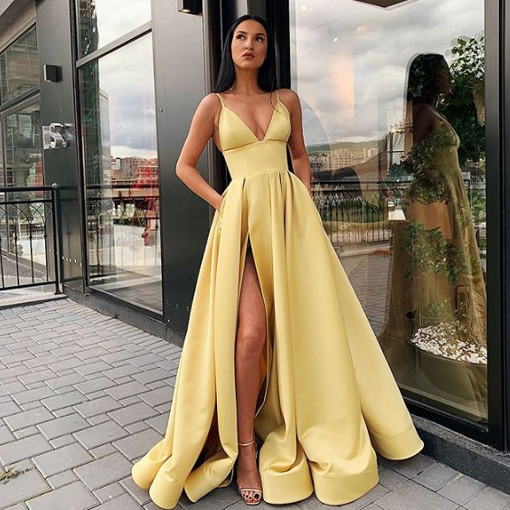 2019 New Arrival Deep V Neck Long Prom   Dresses   Satin Gold Vestidos De Festa Sexy   Evening   Party   Dress   High Slit With Pocket