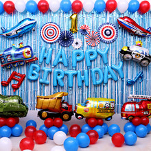 Car Ballons Truck Train airplane Foil Balloon police Globos Gift Happy Birthday Boyss Party Decorations Favor Kids car car balls(China)