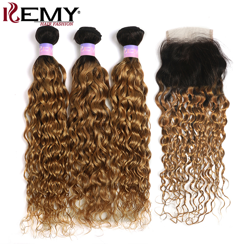 T1B/27 Water Wave Bundles With Closure 4x4 Brazilian Ombre Blonde Human Hair Weave Bundles With Closure KEMY HAIR Non-Remy Weft