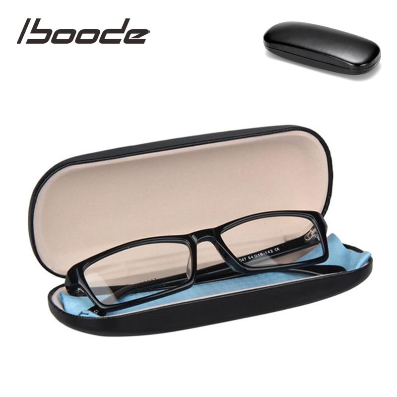 Iboode Eenvoudige Lederen Harde Leesbril Case Protector Vrouwen Mannen Zwarte Zonnebril Storage Case Box Brillen Houder Organizer