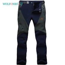 Tacvasen inverno caminhadas calças dos homens à prova dsoftágua softshell trekking calças de acampamento cintura elástica ao ar livre caça calças esportivas