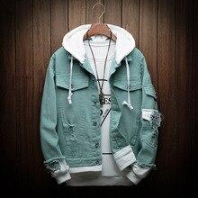 Autumn Patchwork Men Demin Jackets Removable Hoode Black Vintagewear Coat For Males Streetwear юбка demin
