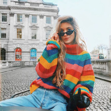 2019 new womens Rainbow Color Striped Knit Pullover Autumn Winter Large size sweater coat Ladies Loose Knitwear Female Tops