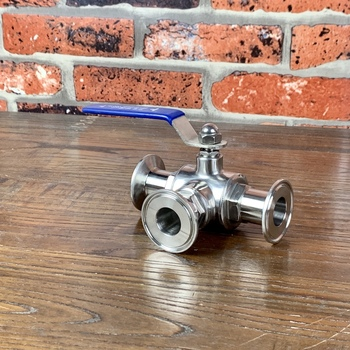 """3 Way Ball Valve T and L Port Ferrule Type 1.5"""" 50.5mm   Sanitary steel 304"""