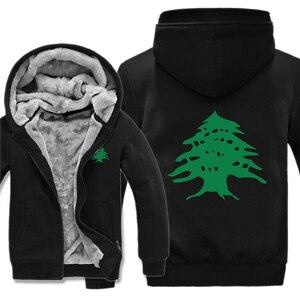 Image 3 - Flaga libanu bluzy z polaru na zamek błyskawiczny zagęścić mężczyzn odzież sweter fajne liban bluza mężczyzn