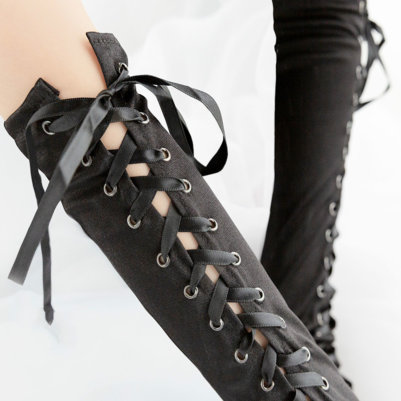 Gothic Steampunk Black Lace Up Fingerless Gloves  5