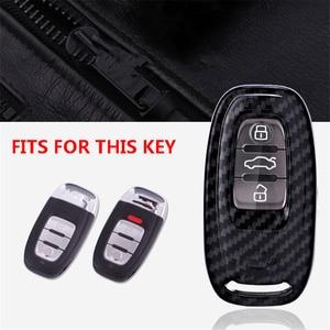 Image 2 - Carbon Fiber + Pc Bescherming Auto Sleutel Cover Case Voor Audi A6L A4L Q5 A3 A4 B6 B7 B8 Smart carbon Fiber Grain Shell Accessoires