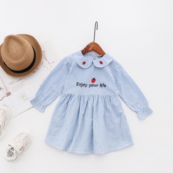 Wholesale cheap 5 Pieces Kids girls casual dresses embroidery cotton full sleeve spring casual dresses