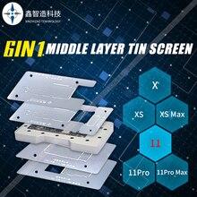 Xinzhizao 6w1 blaszany stół do sadzenia środkowa warstwa cyny ekran iPhone X XS MAX 11 PRO magnetyzm szybkie pozycjonowanie narzędzia konserwacyjne