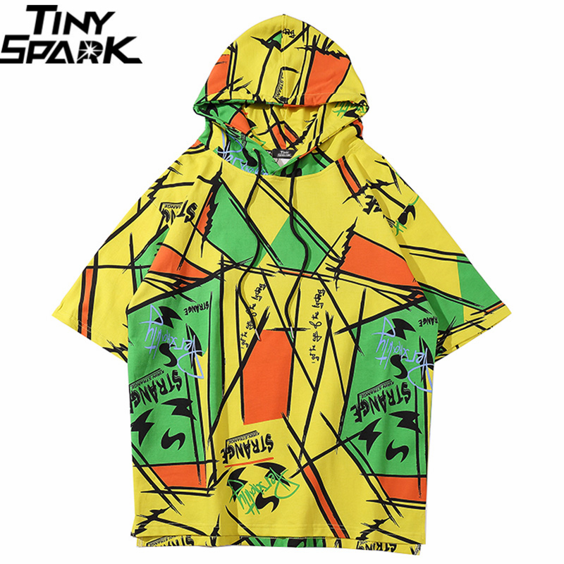 2020 Men Hip Hop Hooded T Shirt Streetwear Graffiti Color Block Tshirt Harajuku Summer Short Sleeve Hoodie T-Shirt Cotton Tops