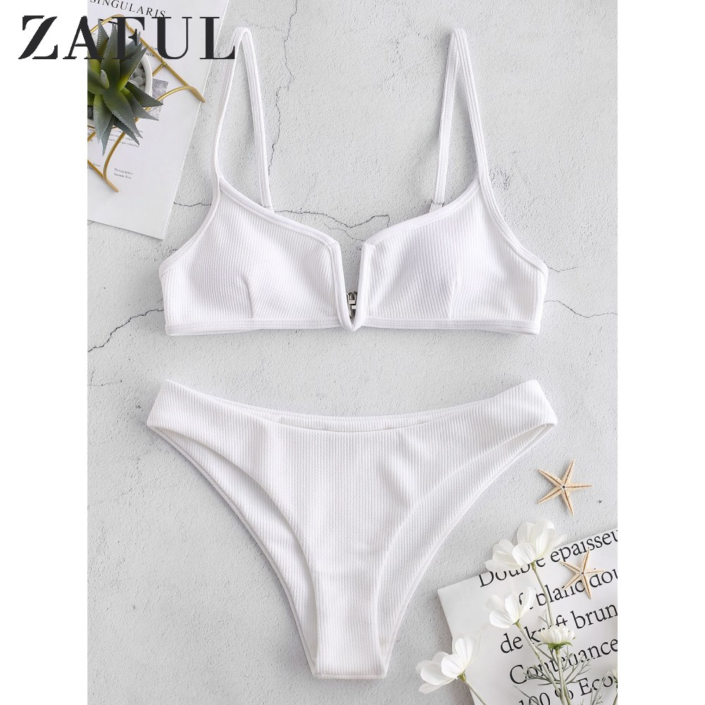 ZAFUL Ribbed V Wired Cami Bikini Set Solid Special Fabric V-Shaped Steel Split High-Cut Bikini Padded Bikini Two Pieces Swimsuit