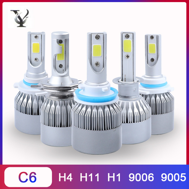 2Pcs C6 Led Bulb H4 H11 H1 COB Turbo Car Headlight Kit 9005 9006 9012 12V 72W 6000K Hi/lo Beam Auto Lamp Accessories Canbus