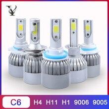 2Pcs C6 Led 전구 H4 H11 H1 COB 터보 자동차 헤드 라이트 키트 9005 9006 9012 12V 72W 6000K Hi/lo 빔 자동 램프 액세서리 Canbus