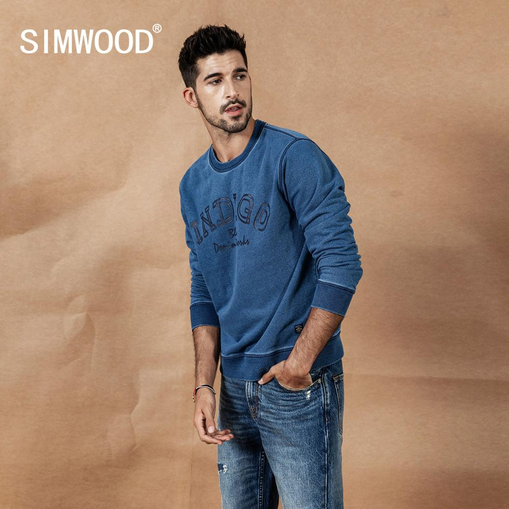 SIMWOOD 2019 autumn new indigo denim hoodie men washed vintage long sleeve pullover  letter print streetwear sweatshirt SI980511