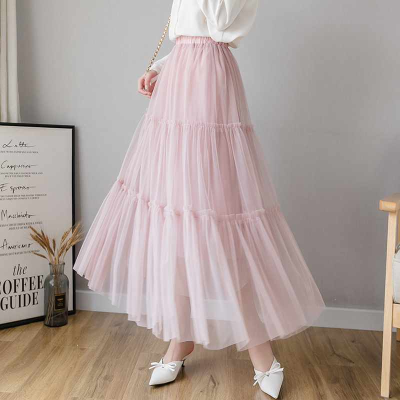 Photo Shoot Gauze WOMEN'S Skirt Puffy Gauze Skirt Pleated Fairy Long Skirts White Gauze Mesh Dress Big Hemline Mid-length Spring