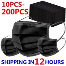 10-200 Uds máscaras desechables no tejida cara máscaras de capa de 3 capas filtro Anti polvo transpirable adultos máscara de boca clavo máscara máscaras en STOCK