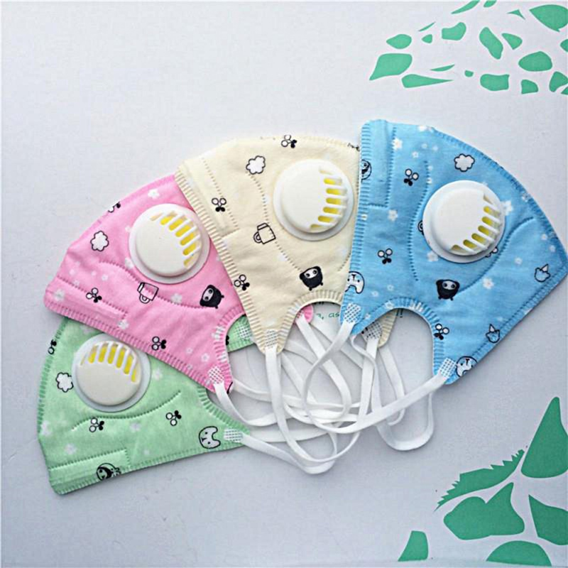 1PC Baby Mouth Masks Cartoon Printing Breathable PM2.5 Kids Spunlace Mouth Face Nose Mask Cover With Filter Respirator Anti-Dust