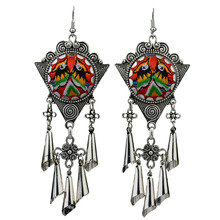 MYTHIC AGE Vintage Ethnic Tribal Embroidery Birds Long Tassel Drop Dangle Earrings For Women New Jewelry mythic age gold color ethnic chinese element cloisonne enamel leaves dangle earrings wholesale jewelry for women girls new