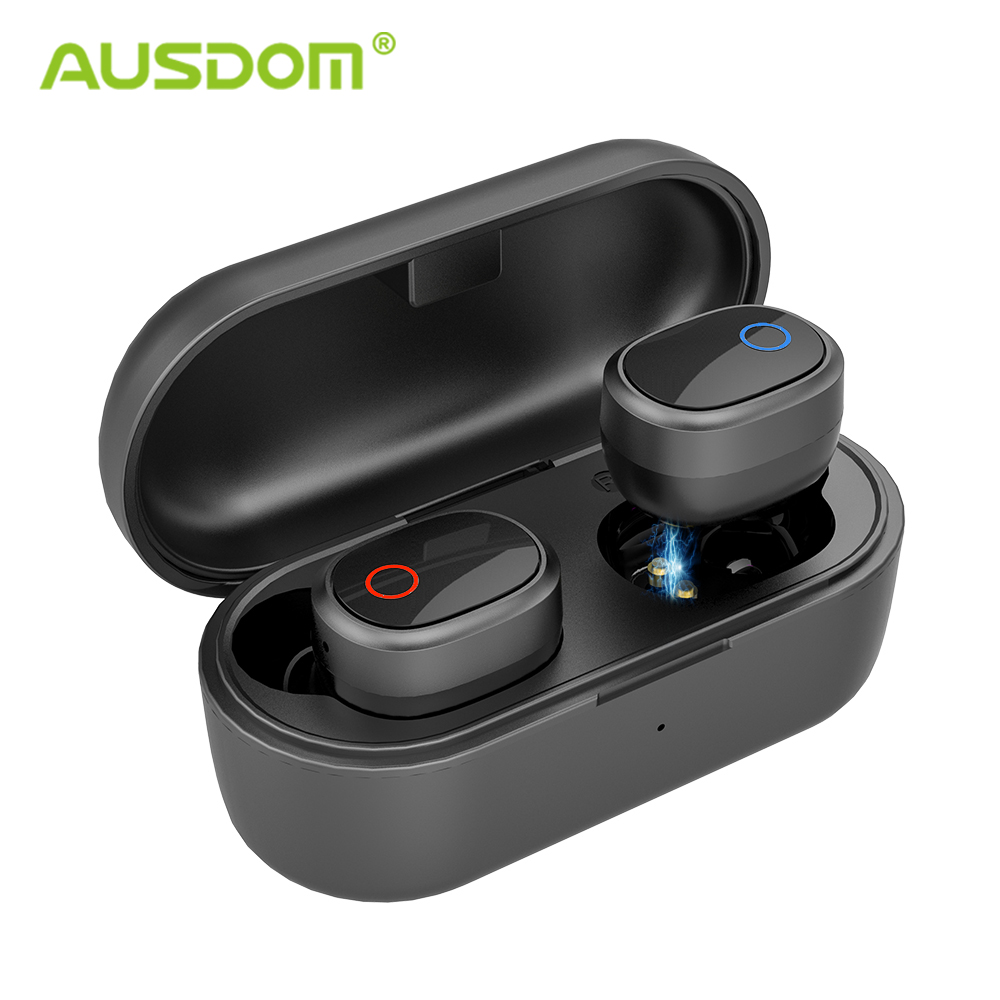 AUSDOM TW01s Wireless Bluetooth Earphone Stereo Bass Bluetooth 5.0 With Mic TWS Handsfree Earbuds Sports Headset For IOS Andorid