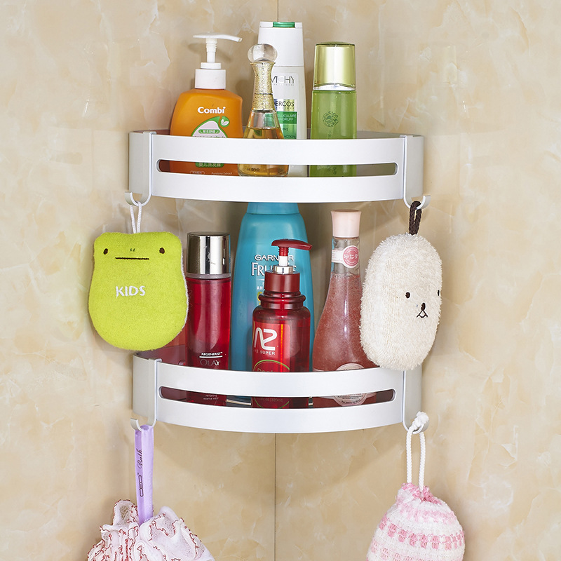 For Alumimum Punched Bathroom Shelf Shampoo Shower Stand Storage Box Wall Rack Home Shower Accessories Storage Supplies