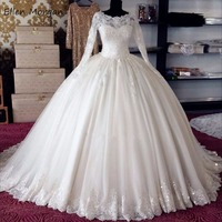 Real Photos Ivory Long Sleeve Wedding Dresses Vintage 2019 Appliques Tulle Lace up Puffy Vestidos De Novia Bridal Ball Gowns