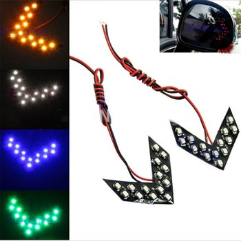2 Pcs / Lot 14 Car Rearview Mirror Light SMD LED Arrow Panel For Car Rear View Mirror Indicator Turn Signal Light Car LED image