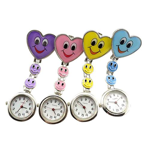Women\'s Cute Smiling Faces Heart Clip  On Pendant Nurse Fob Brooch Pocket Watch