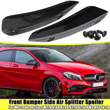 2Pcs Front BUmper Side Air Splitter Spoiler Black for Benz Mercedes W176 A180 A200 A220 A250 Amg A45 a Class 2016-2018 image