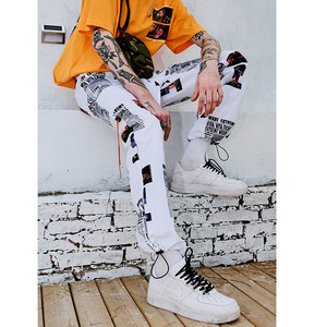 Image 4 - 2019 letnie biegaczy Hip Hip Pant nadruk gwiazdy mężczyźni Harajuku Sweatpant Streetwear moda casualowe spodnie dresowe spodnie dresowe białe