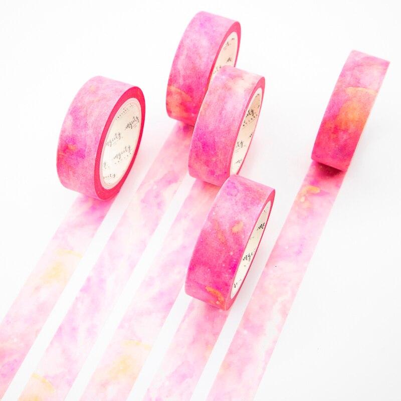 Pink Stone Washi Tape Sticky Color Decorative Masking Paper Tape Set DIY Decoration Office Stationery Scrapbook 1PCS
