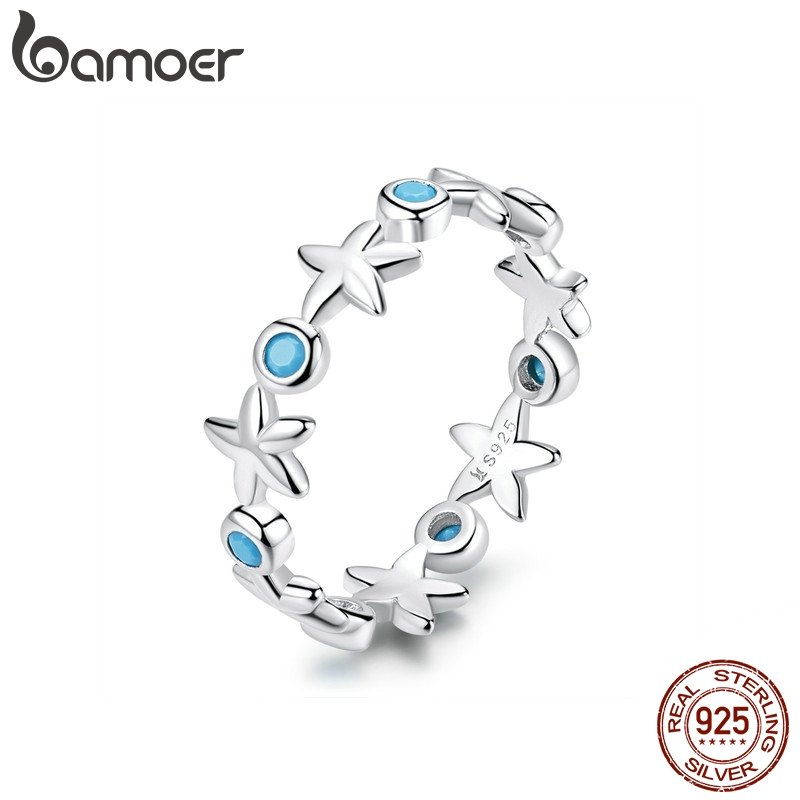 11.11 Sales Starfish Stackable Finger Rings Solid Sterling Silver 925 Ocean Blue Ring For Women Fine Jewelry Gifts SCR527