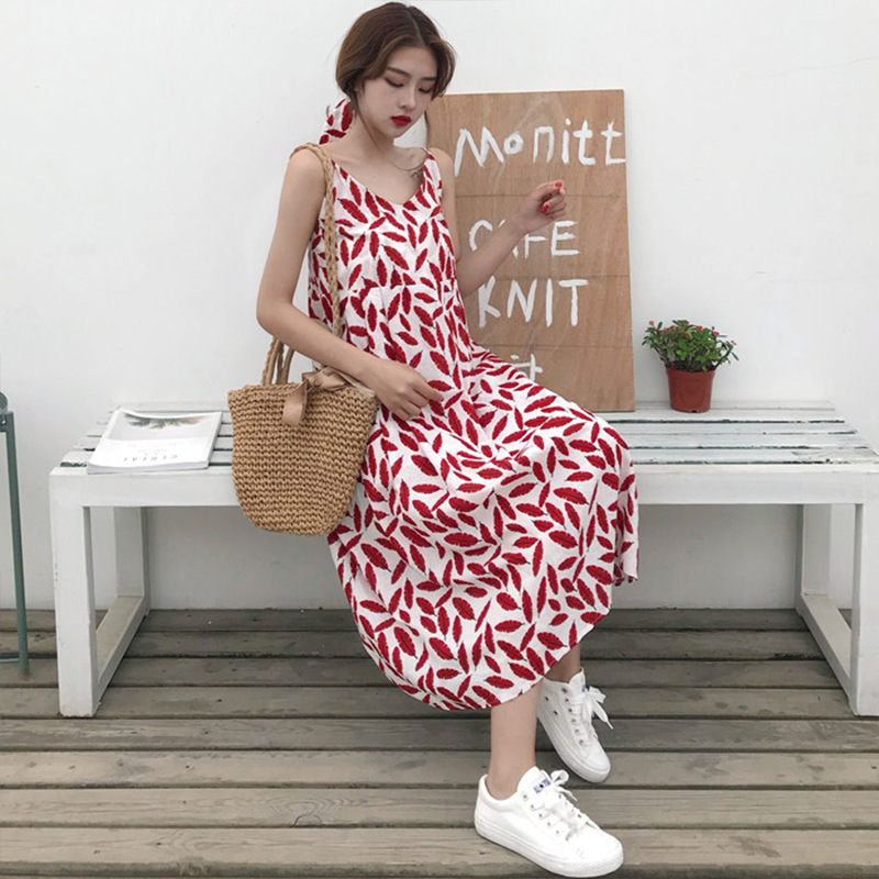 5-11s Summer WOMEN'S Dress Elegant V-neck Feather Vacation Style Mid-length Students Sleeveless Strapped Dress Long Skirts Fashi