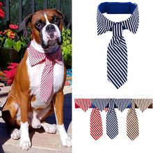Dog Tie Pet Neck pet tie clothing bow Ornament Adjustable Stripes Neckties For Wedding Party D40