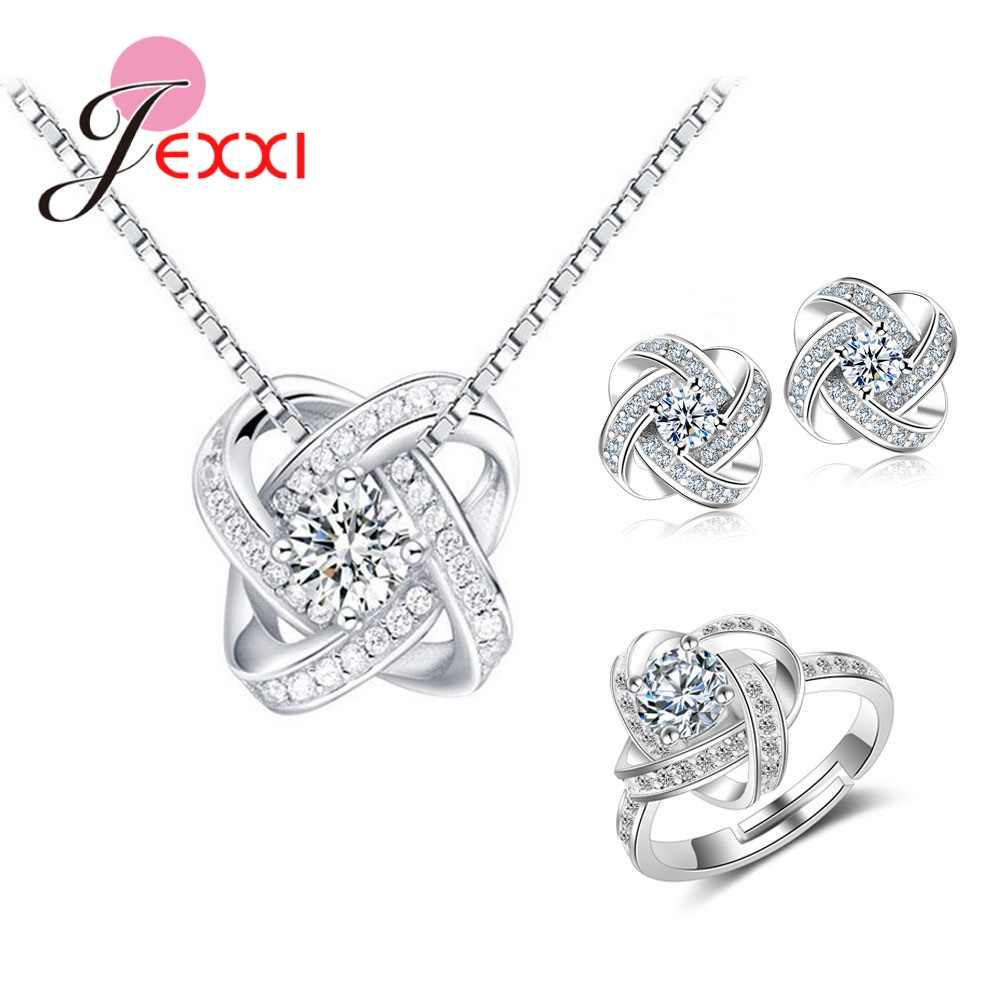 Fashion Women Jewelry Set Cubic Zircon 925 Sterling Silver Classic Flower Bridal Jewelry Sets for Engagement Wedding Accessories