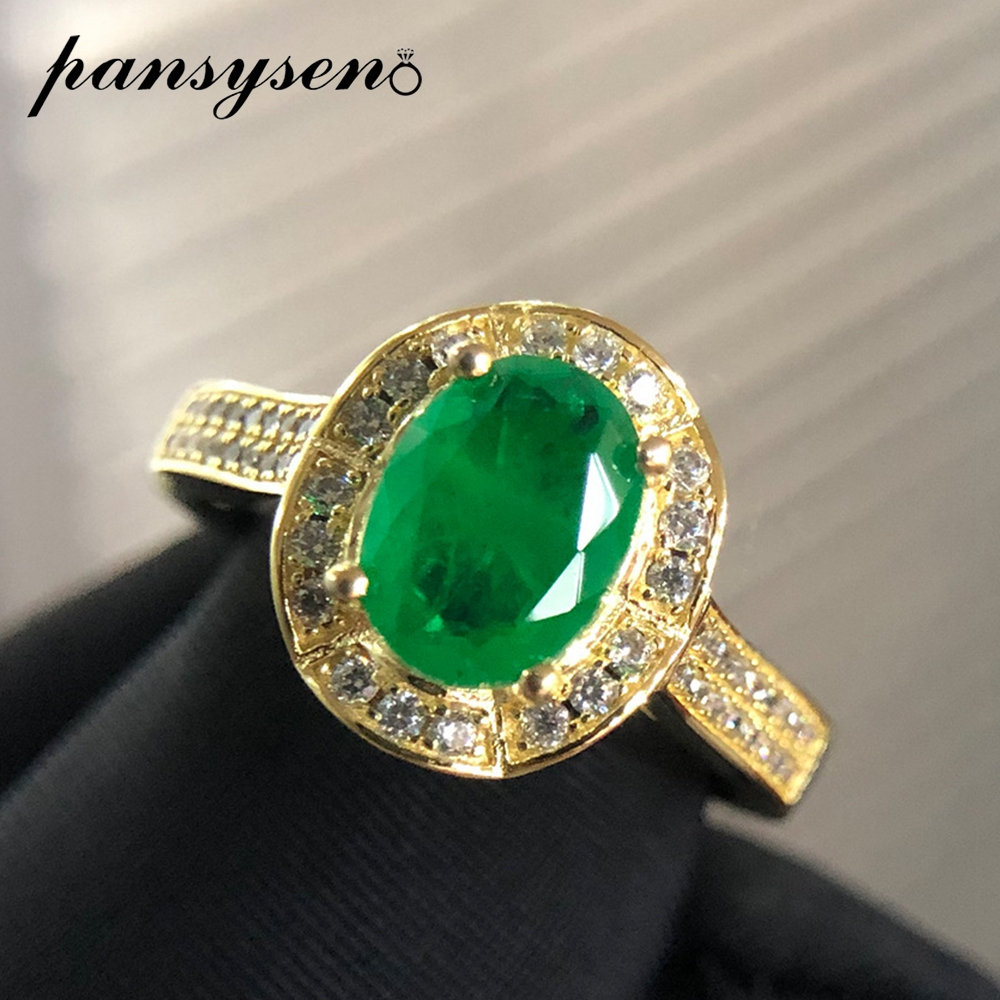 PANSYSEN Luxury 925 Sterling Silver Rings For Women Natural 8x6MM Oval Emerald Gemstone Cocktail Rings Fine Jewelry Wedding Gift