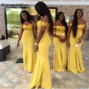 Image 2 - Charming Yellow African Mermaid Bridesmaid Dresses 2020 Off the Shoulder Lace  Wedding Guest Dresses Cheap Vestido De Madrinha