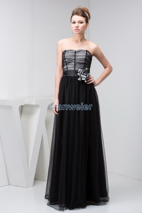 Free Shipping 2016 New Design Hot Sale Brides Maid Gown Handmade Flower Custom Size/color Long Floor-Length Black Evening Dress