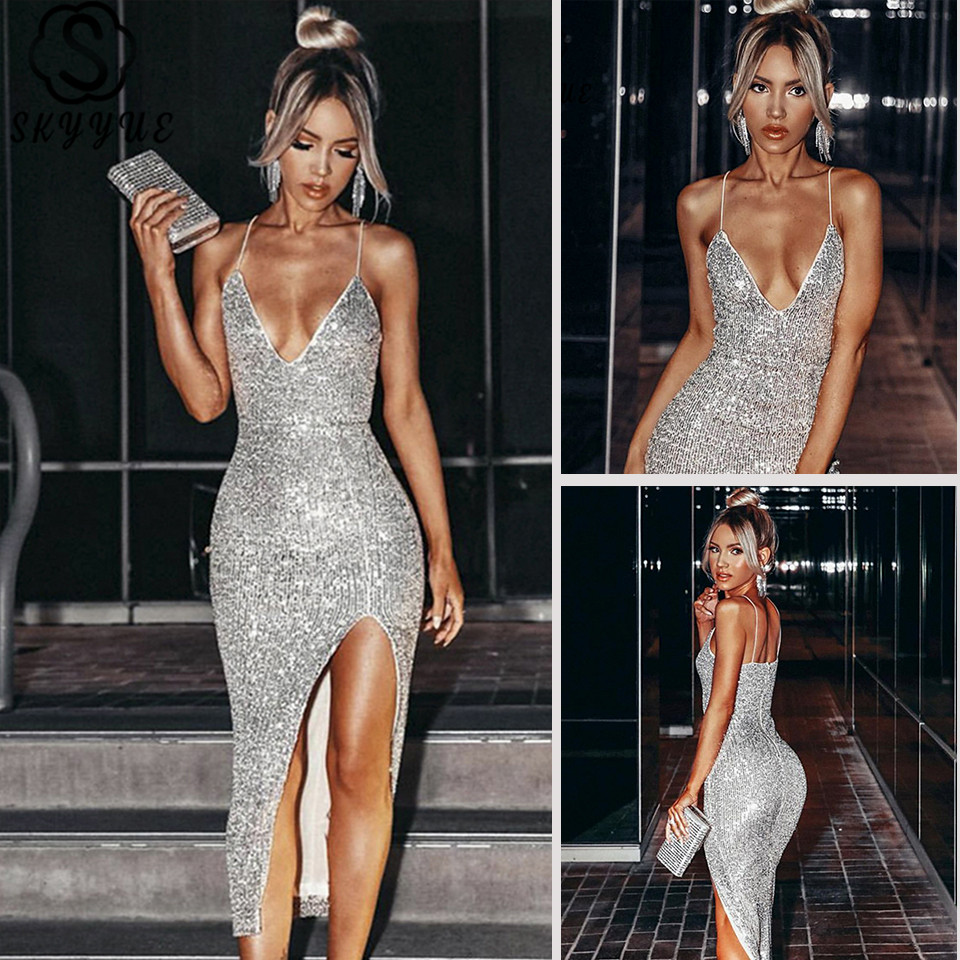 Skyyue Prom Dress V-Neck Sequined Sleeveless Prom Dresses 2020 Solid Spaghetti Strap Split Backless Vestidos De Gala K132